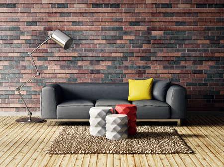 3d render. modern interior room with a beautyful furniture. 版權商用圖片 - 37926718