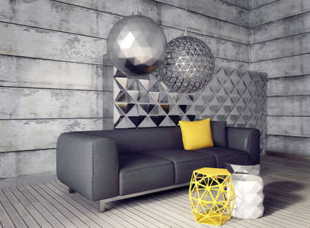 3d render. modern interior room with a beautyful furniture. 版權商用圖片 - 37926720