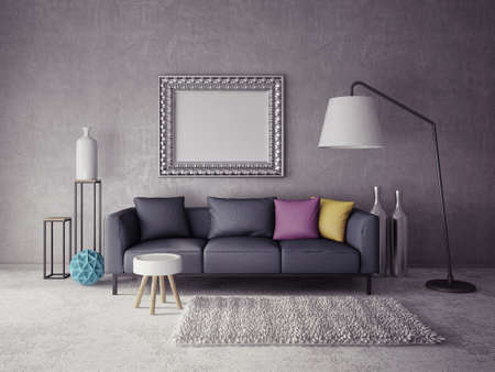 furniture home: 3d render.  modern interior room with a beautiful furniture Stock Photo