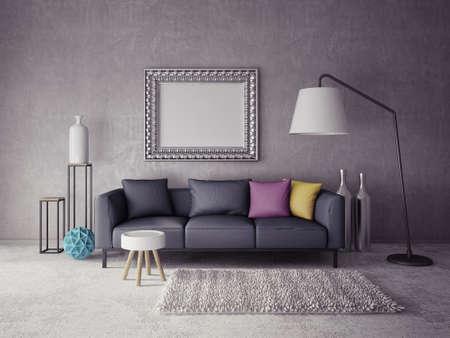 3d render.  modern interior room with a beautiful furniture Archivio Fotografico