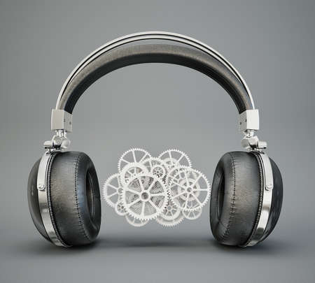 ear phones: black headphones isolated on a grey background