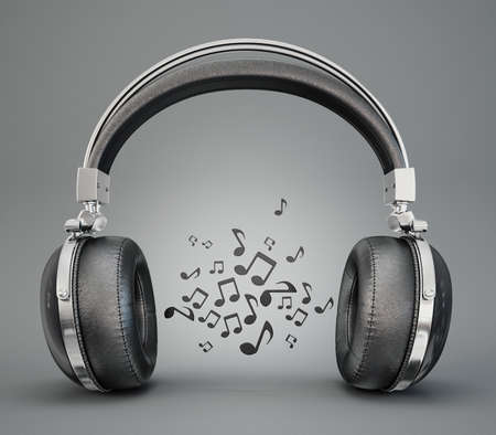 ear phones: black headphones isolated on a greay background