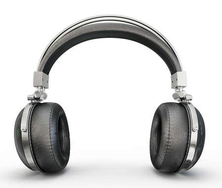 흰 배경에 고립 된 검은 헤드폰