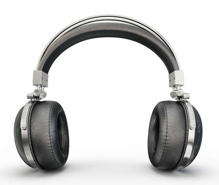 headphones: black headphones isolated on a white background