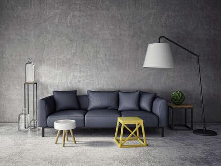 concrete: 3d interior de la habitación con un sofá oscuro y botellas de vidrio
