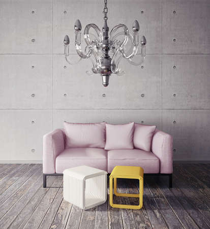 3d render.  modern interior room with a beautiful furniture photo