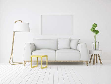 APARTMENT LIVING: modern interior room 3d illustration