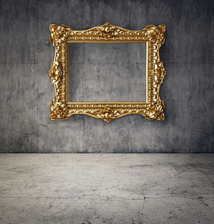 golden frame: gold frame in room with concrete wall