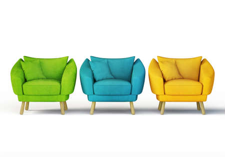 domestic room: 3d armchairs isolated on a white background