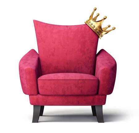 白い背景で隔離赤い肘掛け椅子 写真素材