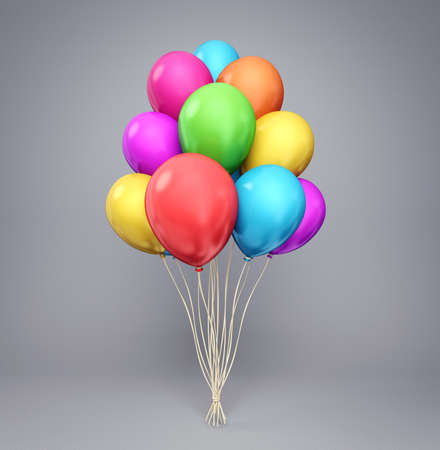 baloons isolated on a white background. 3d illustration Stock Photo