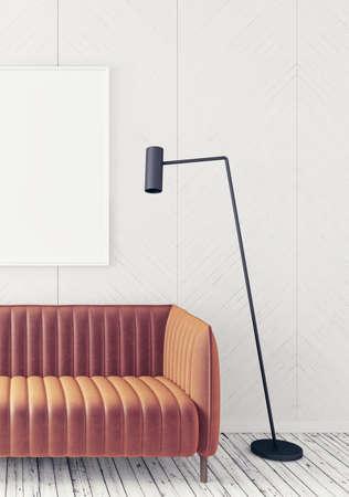 residental: Modern interior room with nice furniture. 3d illustration