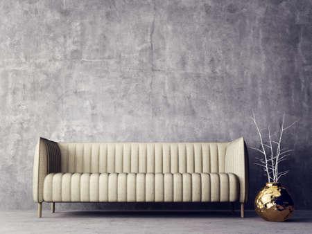 Modern interior room with nice furniture. 3d illustration Stock Illustration - 76522519