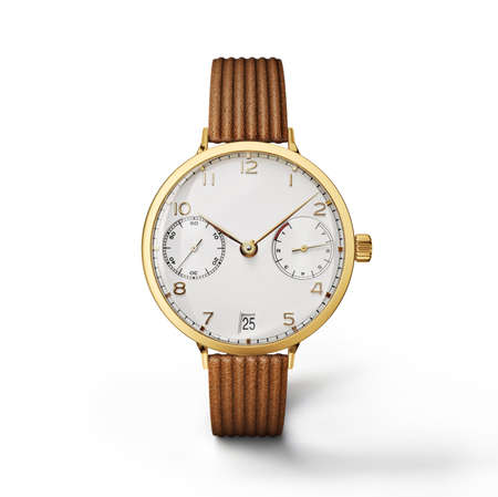 cronógrafo: Wrist watch isolated on a white background, 3d illustration Foto de archivo