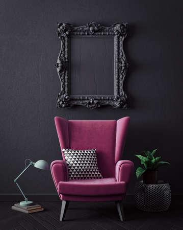 Modern interior room with nice furniture. 3d illustration