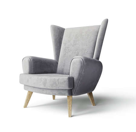 Grey armchair isolated on a white. 3d illustration