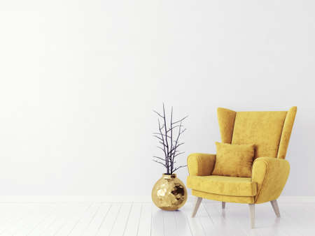 Gele leunstoel die op een wit wordt geïsoleerd. 3D illustratie
