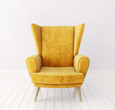 Armchair isolated on a white. 3d illustration Foto de archivo