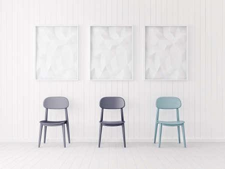 素敵な家具とモダンなインテリア ルーム。3 d イラストレーション 写真素材
