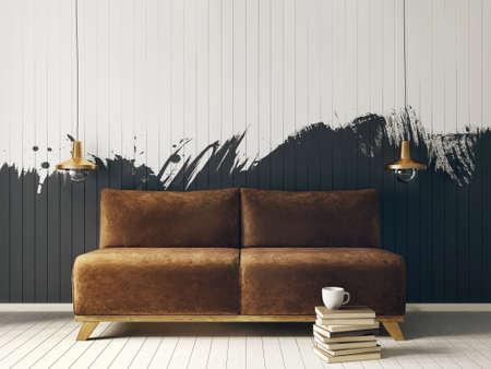 modern interieur kamer met mooi meubilair. 3D-afbeelding