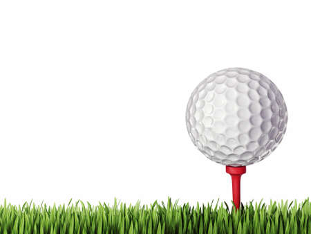 golf ball isolated on a grey. 3d illustration Stock Photo