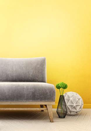 luxury furniture: modern interior room with nice furniture. 3d illustration