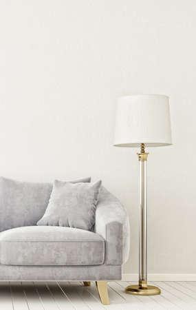 living room design: modern interior room with nice furniture. 3d illustration