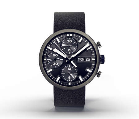 chronograph: wrist watch isolated ona white.3d illustration
