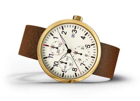 cronógrafo: Reloj de pulsera aislado ona white.3d ilustración Foto de archivo