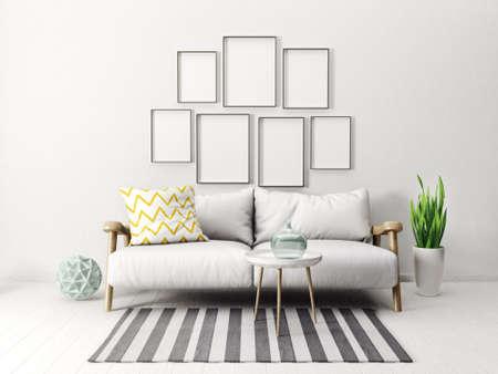 luxury furniture: modern scandinavian  interior. sofa in living room. 3d render. 3d illustration Stock Photo