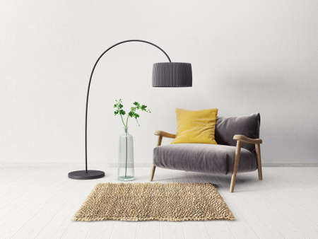luxury apartment: modern scandinavian  interior.  3d render. high resolution