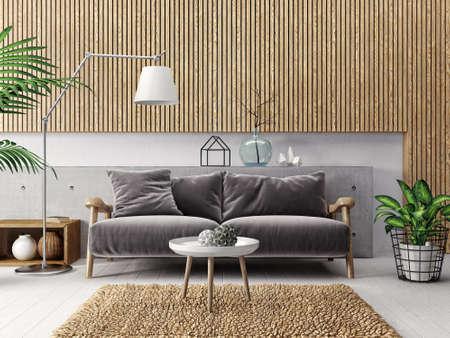 luxury apartment: modern scandinavian  interior. sofa in living room. 3d render. 3d illustration Stock Photo