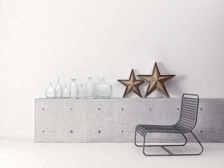 luxury apartment: modern scandinavian  interior. 3d render. 3d illustration