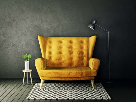 darck: modern interior room with nice furniture. 3d illustration