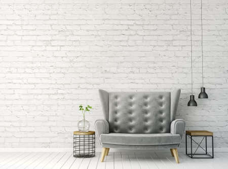 modern interior room with nice furniture. 3d illustration Reklamní fotografie - 80112582
