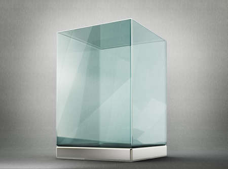 exposition: glass showcase isolated on a grey background. 3d illustration