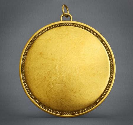 gouden winnaar medaille geïsoleerd op een grijze achtergrond, 3d render, 3d illustratie