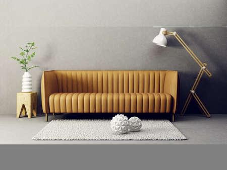 #88594563   Modernes Wohnzimmer Mit Braunem Sofa Und Lampe. Skandinavische  Innenarchitektur Möbel. 3d übertragen Abbildung