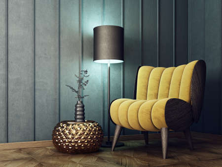 modern living room  with yellow armchair and lamp. scandinavian interior design furniture. 3d render illustration Stock fotó - 88647607