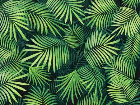 Green tropical leaves background. 3d render illustration