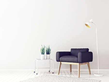 검은 안락의 자 및 램프와 현대 거실. 스칸디나비아 인테리어 디자인 가구. 3d 렌더링 일러스트 레이션
