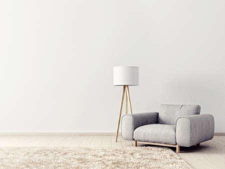 灰色の肘掛け椅子とランプのモダンなリビング ルーム。北欧のインテリア デザインの家具。3 d レンダリング図