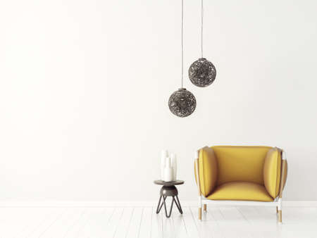 modern living room  with yellow armchair and lamp. scandinavian interior design furniture. 3d render illustration Фото со стока