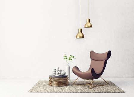 안락의 자 및 램프와 현대 거실입니다. 스칸디나비아 인테리어 디자인 가구. 3d 렌더링 일러스트 레이션