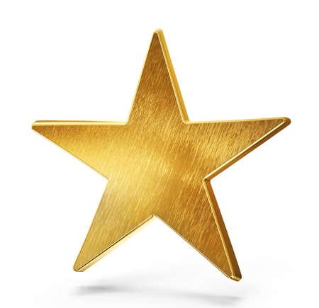 golden star sign isolated on white. 3d illustration