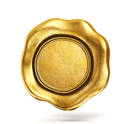 golden wax seal isolated on a white. 3d illusatration