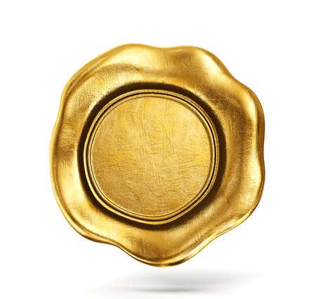złota woskowa pieczęć na białym tle. Illusatration 3D