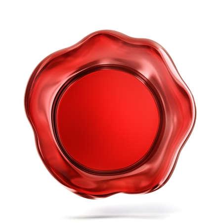 Sigillo di cera rossa isolato su un bianco. Illustrazione 3D Archivio Fotografico - 92051884
