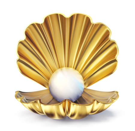 golden pearl shell  isolated on a white. 3d illustration 스톡 콘텐츠