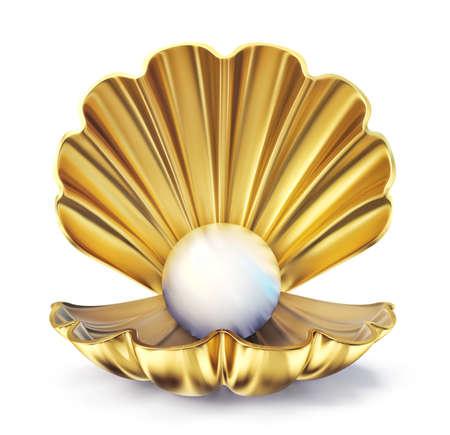 golden pearl shell  isolated on a white. 3d illustration Standard-Bild